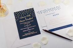 Brig o' Doon Wedding Invitation in Navy Blue Pocketfold - Com Bossa, Luxury Wedding Stationery Embossed Wedding Invitations, Gold Wedding Stationery, Reception Invitations, Winter Wedding Invitations, Letterpress Printing, Custom Cards, Color Themes, Celebrity Weddings, Wedding Day