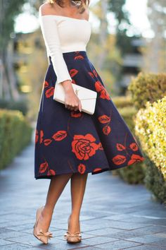 I love these off the shoulder skirts with long knee skirts