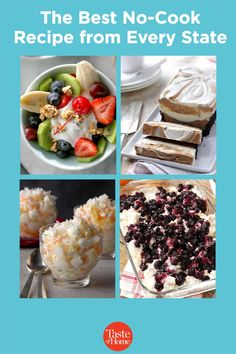 Eat your way across the country—no cooking required! Summer Desserts, No Bake Desserts, Dessert Recipes, No Cook Appetizers, Banana Split, Chocolate Peanut Butter, Cherry Tomatoes, Cooking Recipes, Dishes