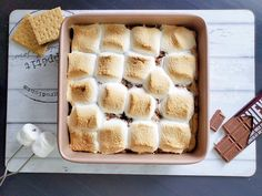 No campfire? No problem! Easy S'mores Bars recipe by FoodNetwork.com | Baking | Easy Recipes | Camping Cottage Recipes