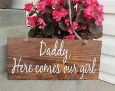 "DADDY here Comes MOMMY Summer wedding Ring Bearer""Here comes the bride"" Sign.Twine,Country,Custom,Unique,Outdoor Wedding Decorations,"