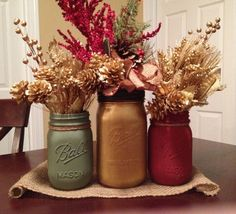 Christmas Mason Jar Vase Collection: Sage Green, Gold, and Deep Burgundy on Etsy, $22.99