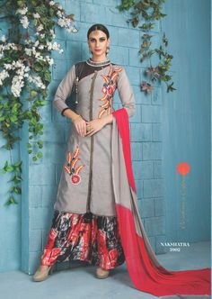0ea6db968e59 Grey Function Wear Banarasi Silk Suit With Printed Plazoo With Embroidary  Work 5902