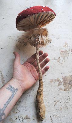 Fairytale by MisterFinch Mushroom Crafts, Mushroom Art, Large Mushroom, Fabric Birds, Fabric Art, Mister Finch, Needle Felting Tutorials, Textiles, Wet Felting