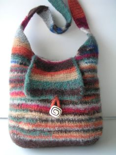 CROCHET and Felt PATTERN Most Practical Felted Wool Handbag Includes FELTING Instruction Includes FREE BONUS Rose Pattern