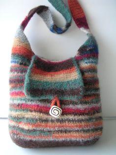 CROCHET and Felt PATTERN Most Practical Felted Wool Handbag Includes FELTING Instruction Includes FREE BONUS Rose Pattern