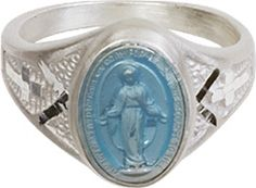 Bliss Catholic Women's Sterling Silver Blue Miraculous Medal Ring