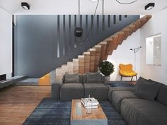 Ukrainian interior designer Pavel Voytov has imagined the decoration of the Rovno house : a modern place built in order to make each object, a sculptural artwork. From staircases that seem to float to the cubic bookcase in one of the bedrooms, through lamps installations. To discover