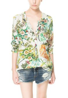 White V Neck Long Sleeve Green Floral Blouse -