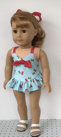 18 doll blue cherry print one piece bathing suit