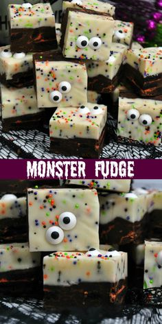 Monster Fudge ~ a simple and easy Halloween fudge recipe that will spice up your party or get your kids ready for the big day! Halloween Fudge Recipe, Halloween Desserts, Halloween Candy, Easy Halloween, Halloween Baking, Quick Easy Desserts, Delicious Desserts, Holiday Treats, Holiday Recipes