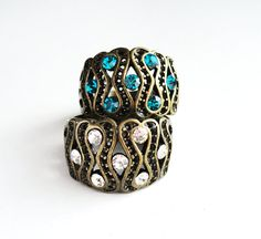 Vintage Style Antique Bronze Ring with Swarovski Blue Zircon/Crystal Clear Chaton Rhinestones