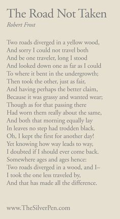 The Road Not Taken by Robert Frost - Inspiring Poems | The Silver Pen