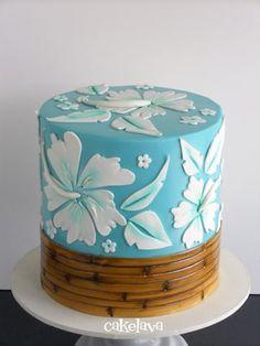 great for a Luau Pretty Cakes, Beautiful Cakes, Amazing Cakes, Hibiscus Cake, Hawaii Cake, Bolo Floral, Single Tier Cake, Beach Cakes, Hawaiian Theme