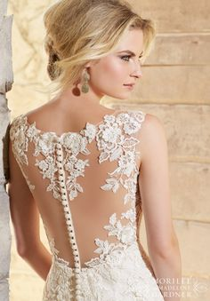 Mori Lee Wedding Dress 2778 Chantilly Lace Gown Decorated with Venice Lace Appliques and Scalloped Hemline