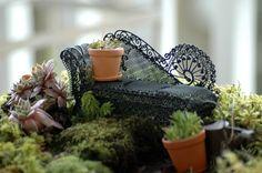 fairy diorama | Fairy garden chaise.