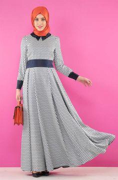 Kayra - Kayra Puantiye Desenli Elbise-Lacivert KA-B5-23088-11