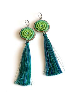 Tassel Earrings Rosette Leather, Hand Painted Leather, Gradient Turquoise Green, Ombre Leather Jewelry, Fringe Earrings Fringe Earrings, Drop Earrings, Leather Jewelry, Rosettes, Tassels, Hand Painted, Turquoise, Trending Outfits, Unique Jewelry