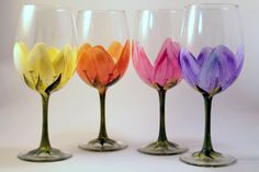 Hand Painted  Wine Glasses Floral  set of 4 by Brusheswithaview, $60.00