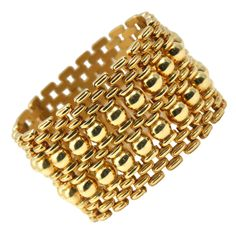 """1950's Yellow Gold  1 3/4"""" Wide Bracelet 