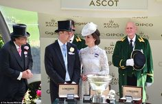 Prince William and Kate prepare to present a trophy to the riders. This year marks their s...