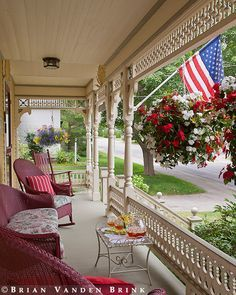 Beautiful patriotic outdoor living area decor