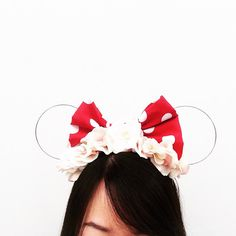 Classic Minnie Bow Wire Ears with flower crown