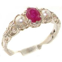 Solid White 18ct Gold Ring for Women set with Natural Ruby & Pearl Trilogy Ring - Size W - Sizes J to Z Available. UK rings. Women rings. It's an Amazon affiliate link.