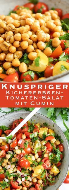 Crunchy chick-pea and tomato salad (vegan + gluten-free)- Knuspriger Kichererbsen-Tomaten-Salat (vegan + glutenfrei) Delicious! Easy Recipe for Crunchy Chickpea and Tomato Salad (Vegan, Vegetarian, Gluten Free) Healthy Healthy Recipes Elle Republic - Easy Healthy Recipes, Raw Food Recipes, Vegetarian Recipes, Easy Meals, Vegan Vegetarian, Free Recipes, Vegan Food, Feta, Crunchy Chickpeas