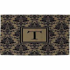 Thumbprintz Damask Monogram Rug, Black and Gold