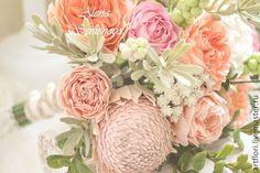 Купить Букет невесты из пионов, роз и протеи. - букет невесты, фоамиран, фоам, фом