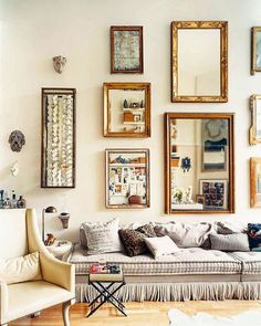 You can never have too many mirrors or picture frames! Love this vintage mirror collection at designer Stephen Shubel his house in SF  Photo by @wabranowicz featured in @dominomag. #ihavethisthingforinterior #interior #decoration #interiordecor #vintage #fleamarket #mirrors #eclectic #inspiration #details