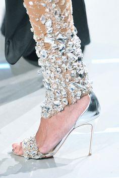 rhinestone legging paired with rhinestone shoe: classy