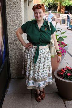 Va-Voom Vintage green tie blouse, plus size 1950s drindl skirt 1940s style pin up rolls vintage hair