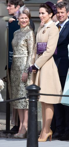 (L-R) Princess Martha Louise of Norway, Crown Princess Mary and Crown Prince Frederik of Denmark attend The Swedish Armed Forces Celebration, in the Outer Courtyard at The Royal Palace in Stockholm on the occasion of King Carl Gustaf of Sweden's 70th Birthday, on April 30, 2016, in Stockholm, Sweden.