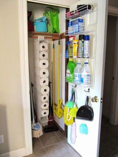 Creative Storage Solutions - the one pictured is a hanging shoe organizer for holding paper towel rolls