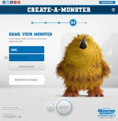 Monsters University Create-a-Monster App by Watson , via Behance