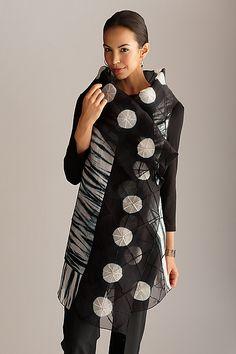 """Circles Asymmetrical Vest""  Silk Shibori Vest  Created by Amy Nguyen"