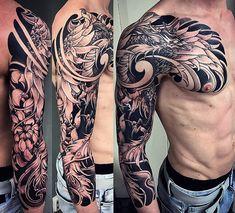 Amsterdam TATTOO 1825 KIMIHITO Japanese style Custom TATTOO Design Phoenix Full sleeve Black and Gray