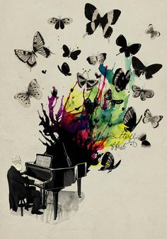 Butterfly Effect. Love this art piece! Two of my favorite things in one, music & butterflies