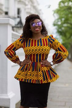 Collection of the most beautiful and stylish ankara peplum tops of 2018 every lady must have. See these latest stylish ankara peplum tops that'll make you stun Latest African Fashion Dresses, African Dresses For Women, African Print Dresses, African Print Fashion, Africa Fashion, African Attire, African Wear, African Women, African Prints