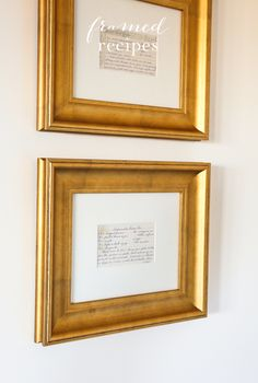 Framed recipes make a beautiful Mother's Day gift and instantly add warmth to your home.