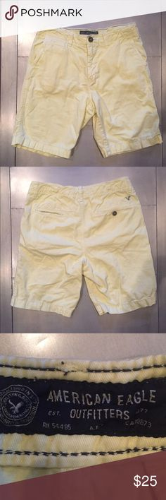 American Eagle Men's light yellow shorts size 30 O so gently worn. Looks brand new ! Light yellow American Eagle men's shorts. Size 30. Hits above knee. Machine washable.  100% cotton. Very cool color! American Eagle Outfitters Shorts Flat Front