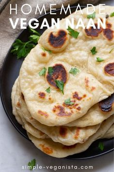 Vegan Naan Bread Recipe- Easy to make at home, Indian style naan bread bakes up soft, fluffy and delicious! Perfect for snacking, soaking up soups and stews, or using as a base for mini pizzas and wraps! Naan Bread Recipe Easy, Recipes With Naan Bread, Indian Naan Bread Recipe, Vegan Pita Bread Recipe, Vegan Scones Recipe Easy, Indian Food Recipes, Whole Food Recipes, Vegan Recipes, Vegan Indian Food