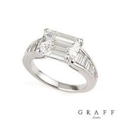 Graff Platinum Emerald Cut Diamond Ring 3.11ct F/IF -