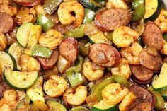Cajun Shrimp and Sausage Skillet | 1000 Green Pepper Recipes, Sausage And Shrimp Recipes, Grilled Shrimp Recipes, Lentil Salad Recipes, Sausage Peppers And Onions, Homemade Cajun Seasoning, Shrimp And Vegetables, Cajun Shrimp