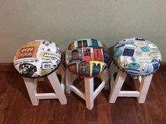 banquito banco madera pino 45 cm pintada, tapizado,  diseño
