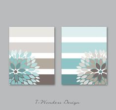Floral Bursts Big Stripes Art Prints, Ombre Style Modern Home Decor Set of 8 x 10 OR 11 x 14 sizes // Mute Blue, Dust Brown -Unframed Diy Canvas Art, Diy Wall Art, Home Decor Sets, Abstract Flowers, Mandala Design, House Painting, Decoration, Ombre Style, Arts And Crafts