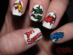 Dr. Suess: 1 fish, 2 fish, red fish, blue fish. DailyNail. #nailart