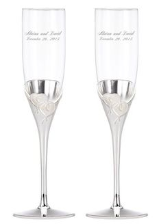Toast to true love for the first time as husband and wife with these romantic Lenox flutes from the True Love Collection. The bowls are crystal and the stems are silver-plated with a raised interlocking heart design adorning the base of the bowl. Personalizing these flutes will add a custom touch to your ceremony and easily transform them in to treasured wedding keepsakes. Choose fromavariety ofdifferent font options and we will deeply sand blast each flute by